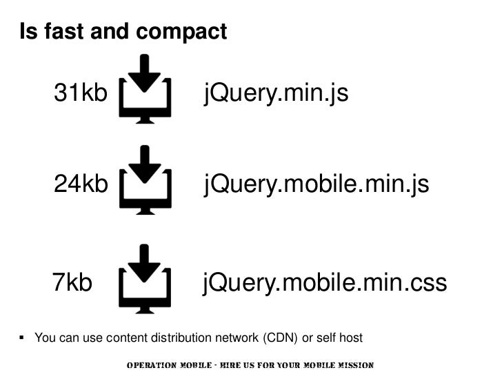 Is fast and compact      31kb                        jQuery.min.js      24kb                        jQuery.mobile.min.js  ...
