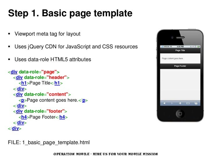 Step 1. Basic page template Viewport meta tag for layout Uses jQuery CDN for JavaScript and CSS resources Uses data-rol...