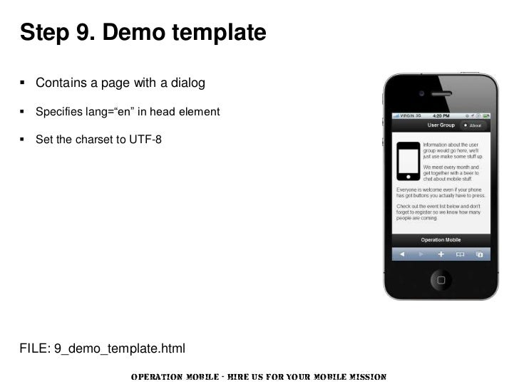 """Step 9. Demo template Contains a page with a dialog Specifies lang=""""en"""" in head element Set the charset to UTF-8FILE: 9..."""