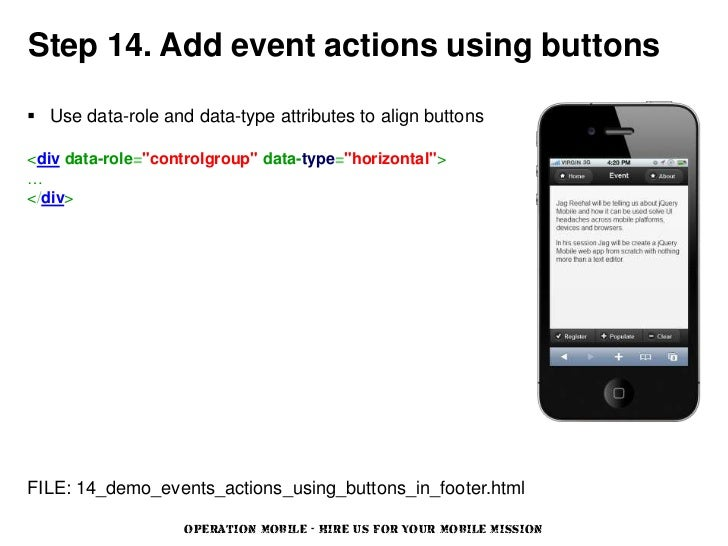 """Step 14. Add event actions using buttons Use data-role and data-type attributes to align buttons<div data-role=""""controlgr..."""