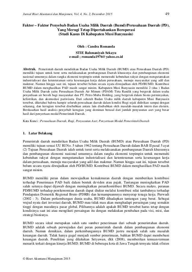 Faktor Faktor Penyebab Badan Usaha Milik Daerah Bumd Perusahaan D