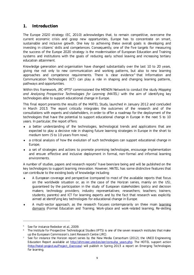 9 1. Introduction The Europe 2020 strategy (EC, 2010) acknowledges that, to remain competitive, overcome the current econo...