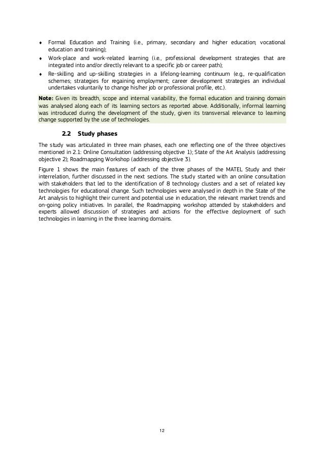 12  Formal Education and Training (i.e., primary, secondary and higher education; vocational education and training);  W...