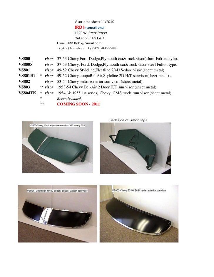 Visor data sheet 11/2010                              JRD International                               1229 W. State Street...