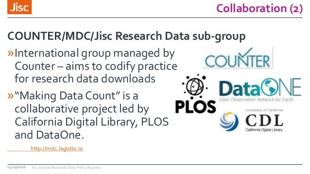 """Collaboration (2) »International group managed by Counter – aims to codify practice for research data downloads »""""Making D..."""