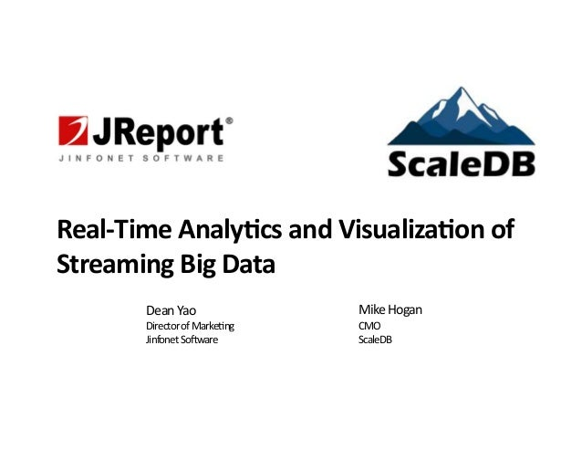 Real%Time)Analy-cs)and)Visualiza-on)of) Streaming)Big)Data Dean%Yao% Director%of%Marke/ng% Jinfonet%So3ware Mike%Hogan% CM...