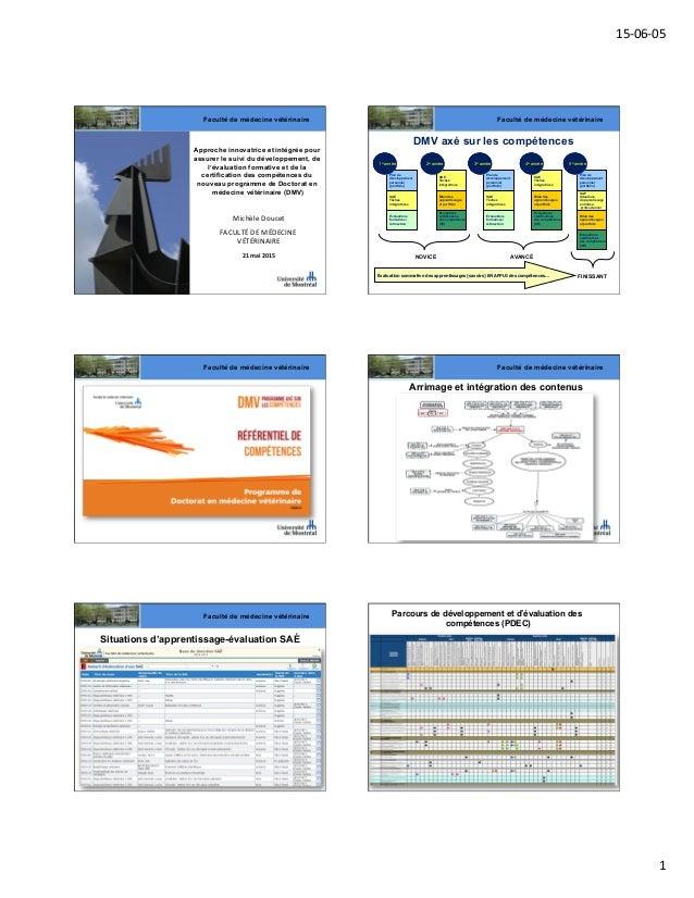 15-‐06-‐05   1   Faculté de médecine vétérinaire Approche innovatrice et intégrée pour assurer le suivi du développe...