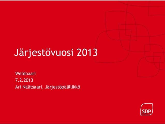 Järjestövuosi 2013Webinaari7.2.2013Ari Näätsaari, Järjestöpäällikkö