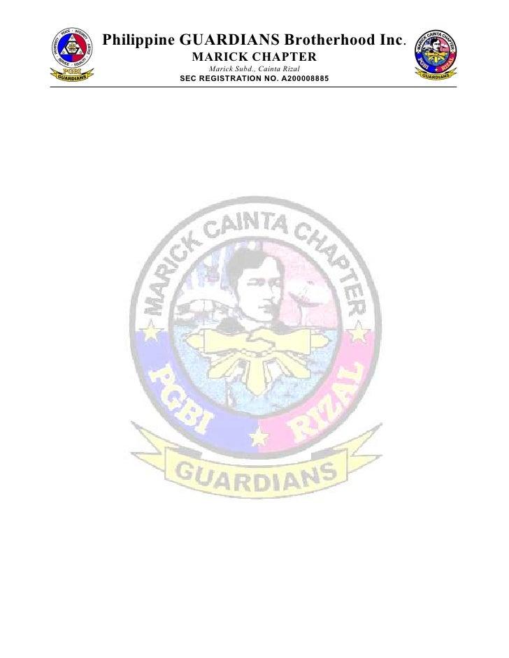Philippine GUARDIANS Brotherhood Inc.           MARICK CHAPTER               Marick Subd., Cainta Rizal         SEC REGIST...