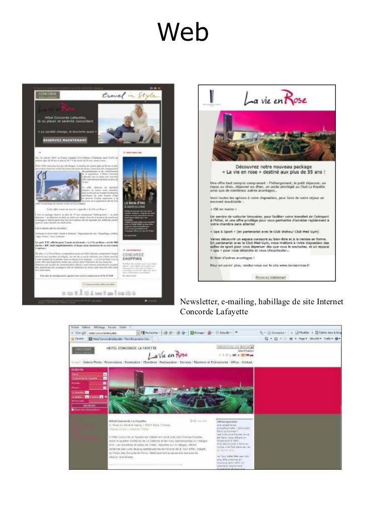 Web Newsletter, e-mailing, habillage de site Internet Concorde Lafayette