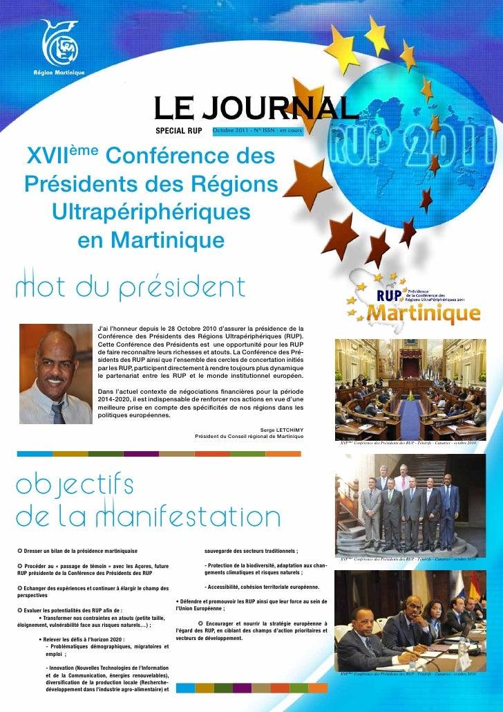 SPECIAL RUP             Octobre 2011 - N° ISSN : en cours                      ème  XVII   Conférence des  Présidents des ...
