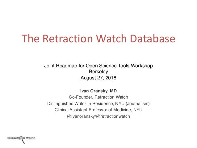 Ivan Oransky, MD Co-Founder, Retraction Watch Distinguished Writer In Residence, NYU (Journalism) Clinical Assistant Profe...