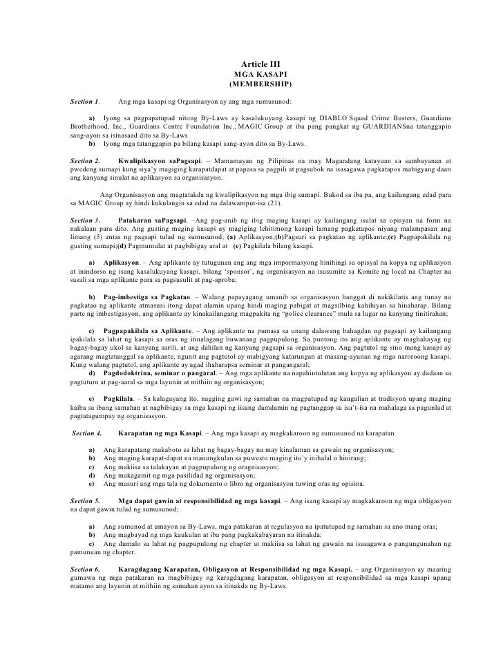 Article III                                                     MGA KASAPI                                                ...