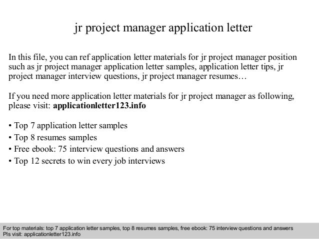 application letter for the post of project manager Study our project coordinator cover letter samples to learn the best way to write your own powerful cover letter  i am writing to apply for the project manager .