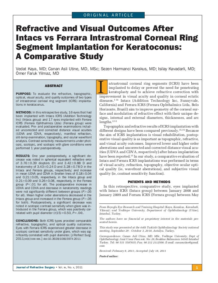 ORIGINAL ARTICLERefractive and Visual Outcomes AfterIntacs vs Ferrara Intrastromal Corneal RingSegment Implantation for Ke...