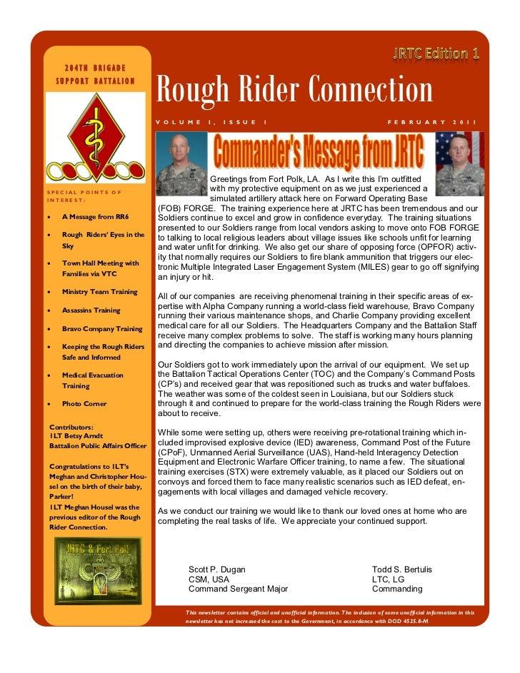 204TH BRIGADE    SUPPORT BATTALION                                   Rough Rider Connection                               ...