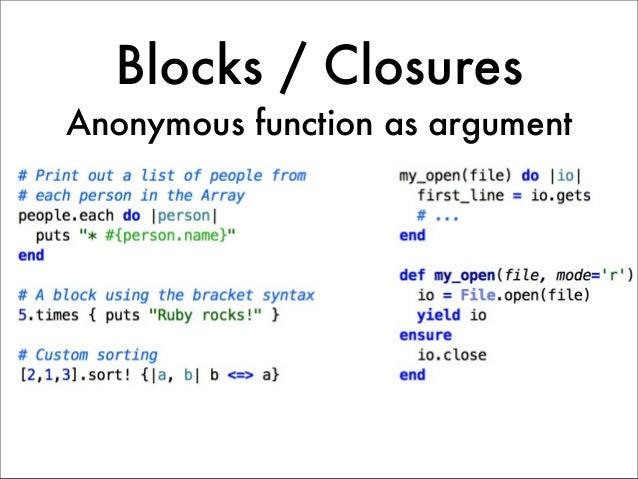 Blocks / ClosuresAnonymous function as argument