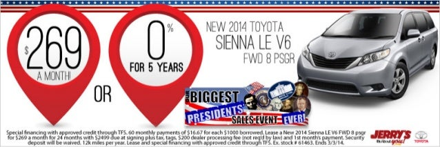 2014 Toyota Sienna at Jerrys Toyota in Baltimore, Maryland