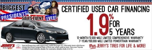 Certified Used Car Financing at Jerrys Toyota in Baltimore, Maryland