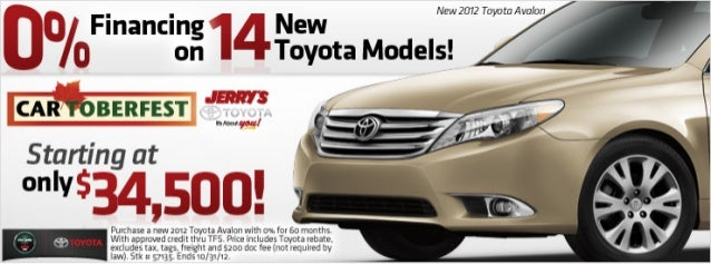 2012 Avalon starting at only $34,500 at Jerry's Toyota in Baltimore, Maryland