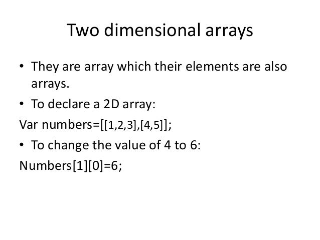 2d array in javascript