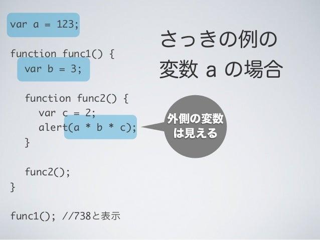 外側の変数 は見える var a = 123; function func1() {  var b = 3;  function func2() {   var c = 2;   alert(a * b * c);  }  fu...