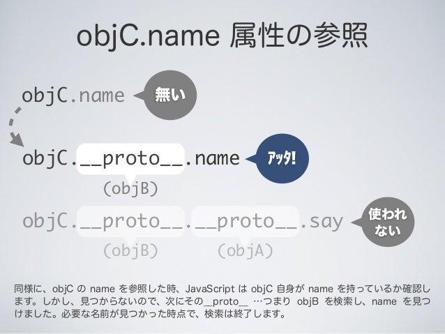 objC.name 属性の参照 objC.name アッタ! 無い (objB) objC.__proto__.name (objA)(objB) objC.__proto__.__proto__.say 使われ ない 同様に、objC の n...