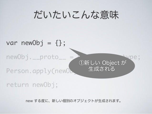 だいたいこんな意味 var newObj = {}; newObj.__proto__ = Person.prototype; Person.apply(newObj, arguments); return newObj; ①新しい Objec...