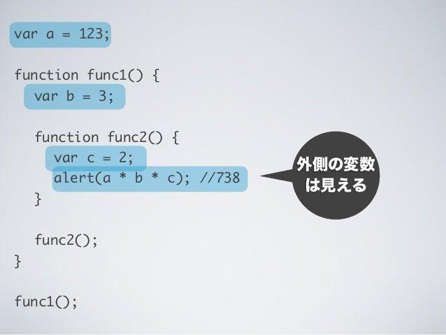 期待通り 計算される var a = 123; function func1() {  var b = 3;  function func2() {   var c = 2;   alert(a * b * c); //738  ...