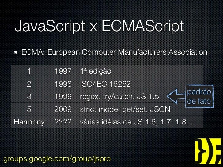 JavaScript x ECMAScript    ECMA: European Computer Manufacturers Association      1      1997   1ª edição      2      1998...