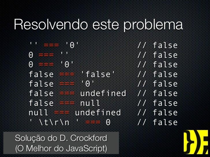 Resolvendo este problema       === 0                //   false      0 ===                   //   false      0 === 0       ...