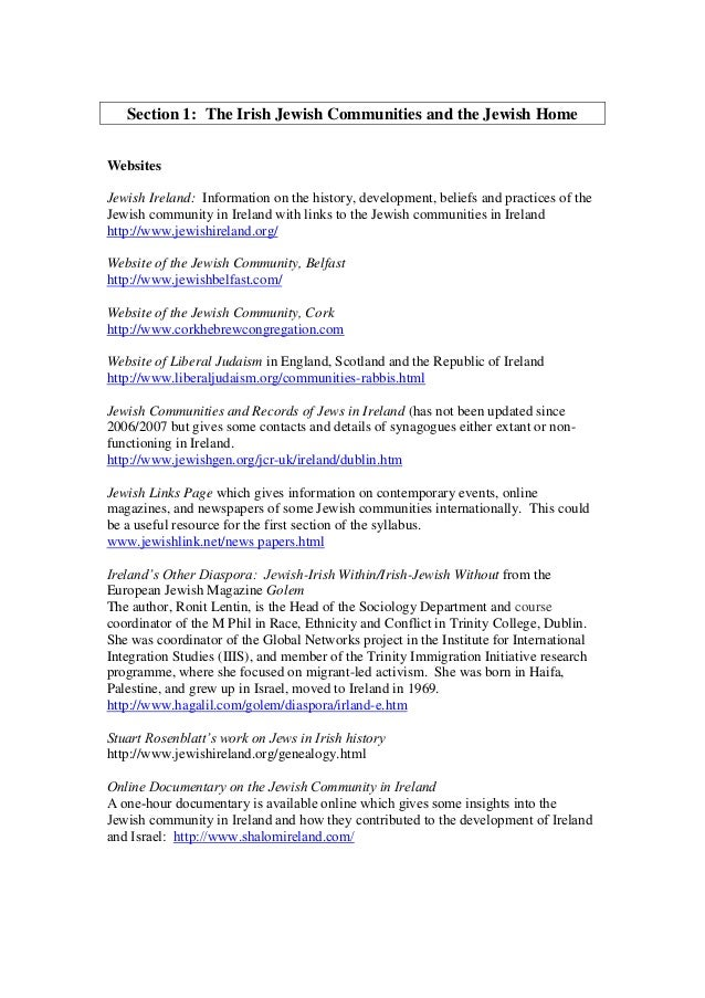 Section 1: The Irish Jewish Communities and the Jewish Home Websites Jewish Ireland: Information on the history, developme...