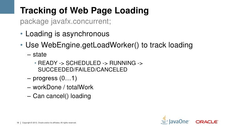 Tracking of Web Page Loading     package javafx.concurrent;     • Loading is asynchronous     • Use WebEngine.getLoadWorke...