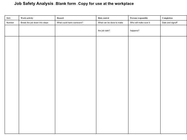 Job Safety Analysis .  Job Safety Analysis Template