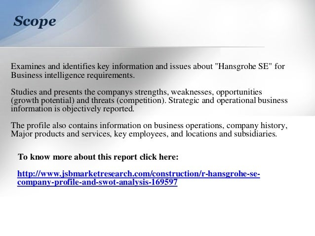 JSB Market Research: Hansgrohe SE : Company Profile and SWOT Analysis