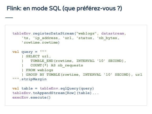 "Flink: en mode SQL (que préférez-vous ?) tableEnv.registerDataStream(""weblogs"", datastream, 'ts, 'ip_address, 'url, 'statu..."