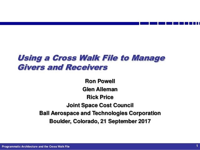 Programmatic Architecture and the Cross Walk File 1 Using a Cross Walk File to Manage Givers and Receivers Ron Powell Glen...