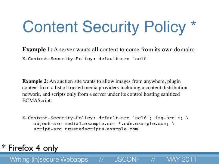 Content Security Policy * Example