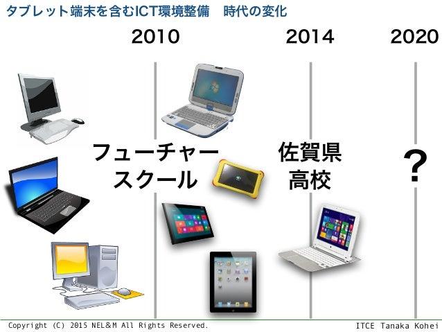 ITCE Tanaka KoheiCopyright (C) 2015 NEL&M All Rights Reserved. フューチャー スクール 2010 タブレット端末を含むICT環境整備時代の変化 佐賀県 高校 2014 2020 ?