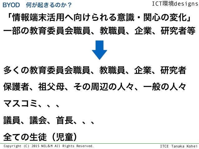 ITCE Tanaka Kohei ICT環境designs Copyright (C) 2015 NEL&M All Rights Reserved. 「情報端末活用へ向けられる意識・関心の変化」 一部の教育委員会職員、教職員、企業、研究者等...