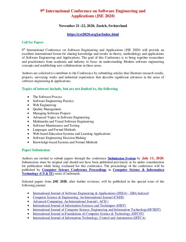 9th International Conference on Software Engineering and Applications (JSE 2020) November 21~22, 2020, Zurich, Switzerland...