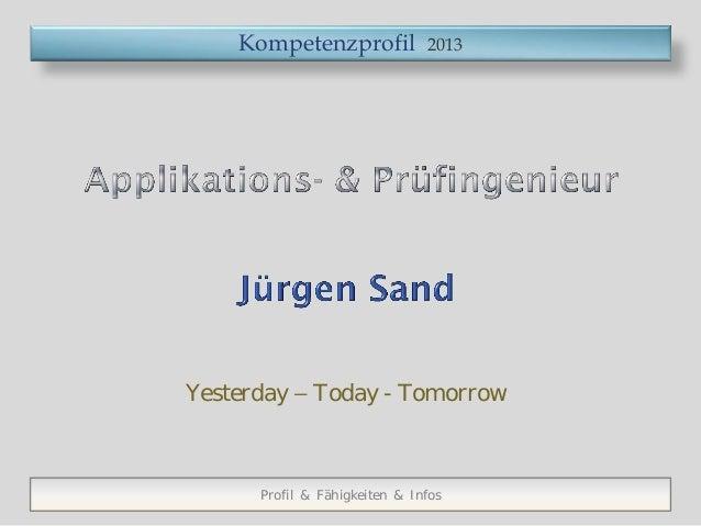 Kompetenzprofil            2013Yesterday – Today - Tomorrow      Profil & Fähigkeiten & Infos