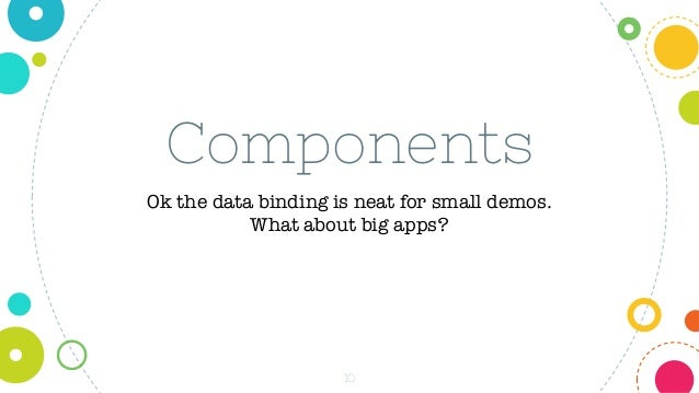 10 Components Ok the data binding is neat for small demos. What about big apps?