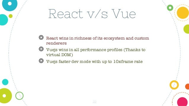 22 React v/s Vue ◎ React wins in richness of its ecosystem and custom renderers ◎ Vuejs wins in all performance profiles (...
