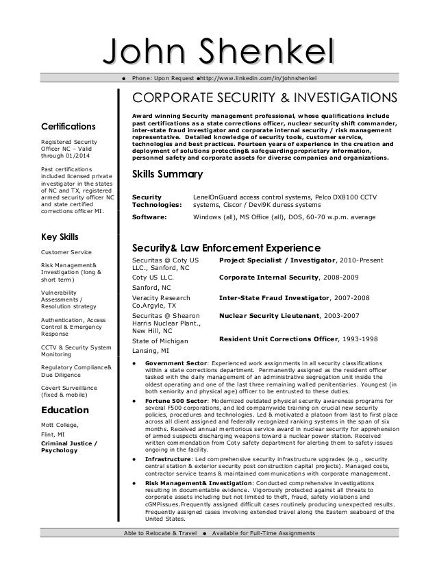 resume john shenkel phone upon request httpwwwlinkedin ciso resume - Ciso Resume