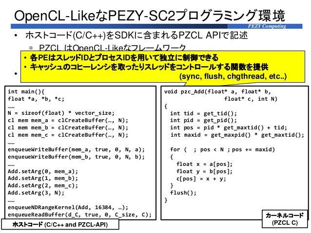 PEZY Computing • ホストコード(C/C++)をSDKに含まれるPZCL APIで記述  PZCL はOpenCL-Likeなフレームワーク  PZCL-API はデータ転送やスレッド数、スタックの管理などの機能をもつ • デ...