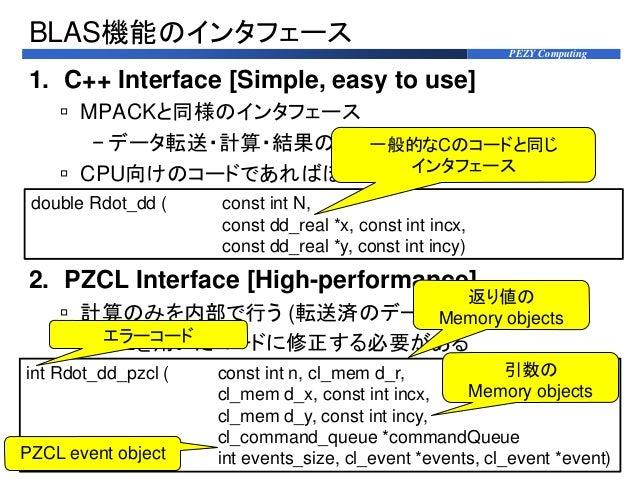 PEZY Computing BLAS機能のインタフェース 1. C++ Interface [Simple, easy to use]  MPACKと同様のインタフェース − データ転送・計算・結果の受け取りを内部で行う  CPU向けのコ...
