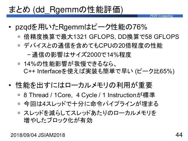 PEZY Computing まとめ (dd_Rgemmの性能評価) • pzqdを用いたRgemmはピーク性能の76%  倍精度換算で最大1321 GFLOPS, DD換算で58 GFLOPS  デバイスとの通信を含めてもCPUの20倍程...