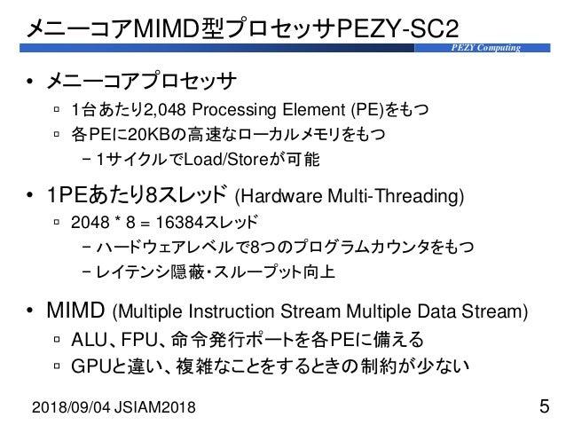 PEZY Computing メニーコアMIMD型プロセッサPEZY-SC2 • メニーコアプロセッサ  1台あたり2,048 Processing Element (PE)をもつ  各PEに20KBの高速なローカルメモリをもつ − 1サイ...