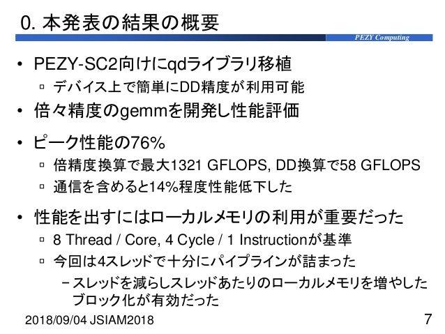 PEZY Computing 0. 本発表の結果の概要 • PEZY-SC2向けにqdライブラリ移植  デバイス上で簡単にDD精度が利用可能 • 倍々精度のgemmを開発し性能評価 • ピーク性能の76%  倍精度換算で最大1321 GFL...